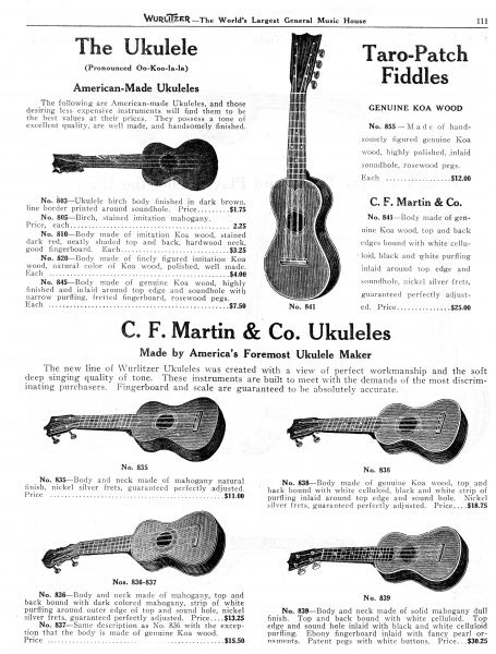 A range of Ukuleles sold by the Wurlitzer company