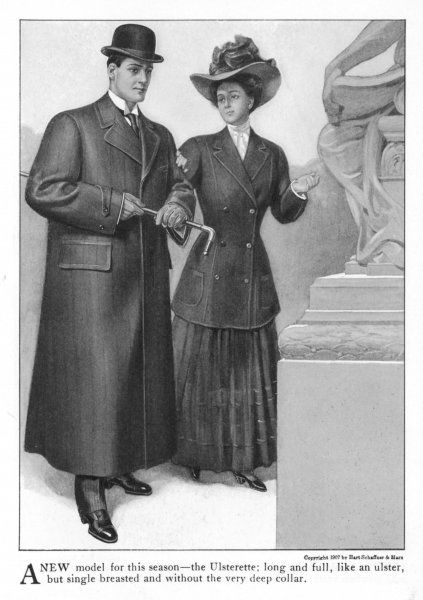 American overcoat described as an Ulsterette - presumably like an Ulster but without the waistbelt & cape but with large pocket flaps