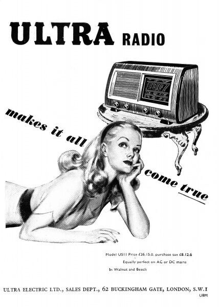 An advertisement for Ultra radio, from Ultra Electric ltd