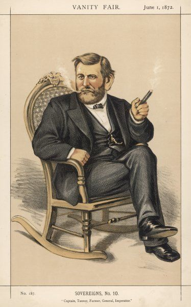 ULYSSES S GRANT American Civil War General, and later President, relaxing with a cigar