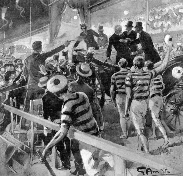 In retaliation for the brutal suppression of a workers' demo at Milano, anarchist Gaetano Bresci travels from America to Italy and shoots Umberto I at a sports meeting at Monza