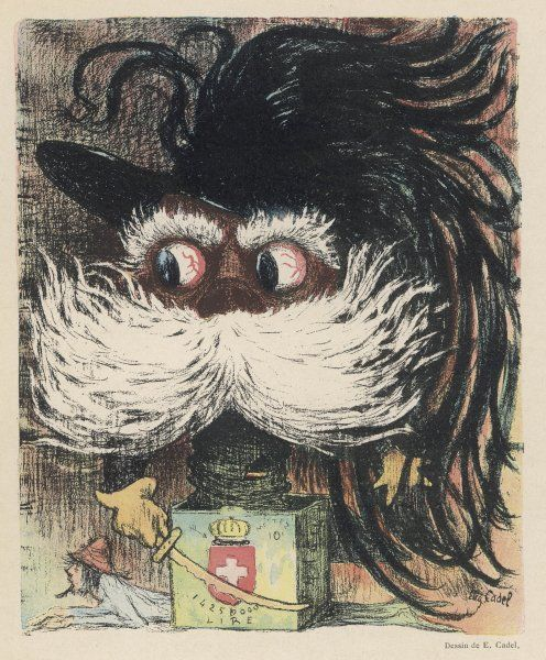 UMBERTO I King of Italy from 1878, caricatured as a frightening Jack-in-the-Box