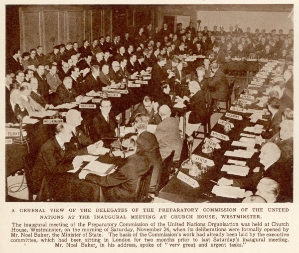 A general view of the delegates of the preparatory commission of the United Nations at the inaugural meeting at Church House, Westminister