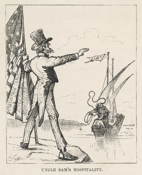 Uncle Sam tells Chinese to keep out of America, on the grounds that they are too industrious and economical, it's unfair competition for our boys