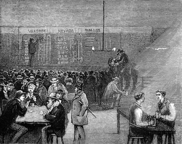 Engraving showing an underground drinking cellar with, in the background, a stock index board marked on the wall, San Francisco, 1884