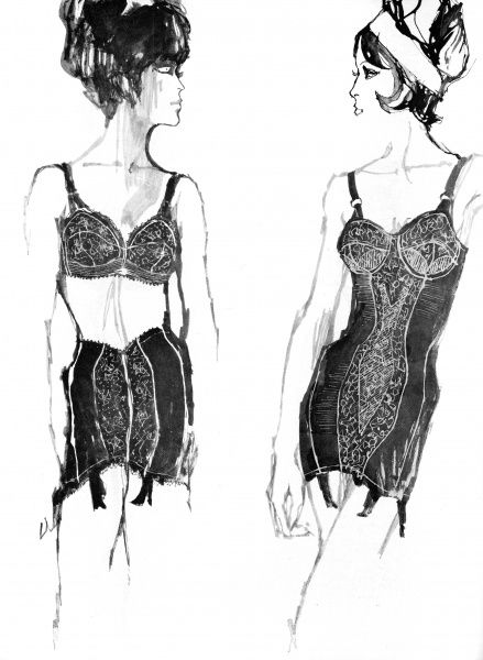 A lycra girdle with tapering side sections and black lace front panel on the right, and a black lace bra mounted on white both by Lily of France and excellent for magically transforming the figure. Date: 1962