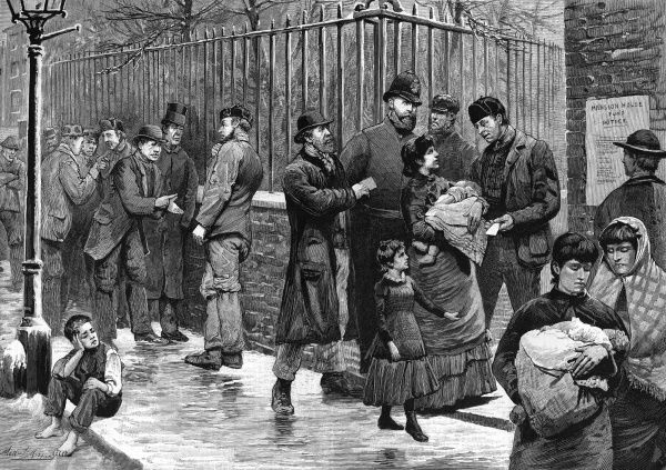 The unemployed in the East End of London wait outside Mansion House