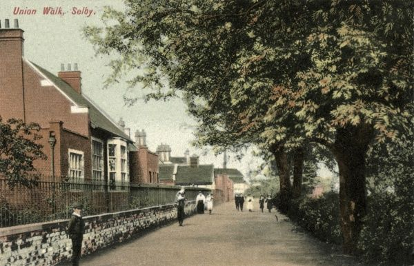Union Walk at Selby, West Yorkshire. The Selby Union Workhouse runs along the left of the lane