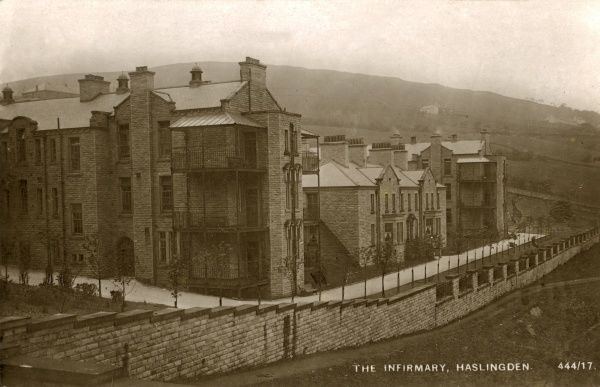 The new infirmary, opened in 1912, on the Haslingden Union workhouse site at Higher Pikelaw, midway between Haslingden and Rawtenstall, Lancashire. The site later became Moorland House Institution, then Rossendale General Hospital