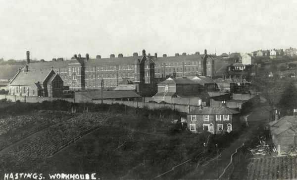 Bird's eye view of the new Hastings workhouse, opened in 1903 on Frederick Road (bottom right of picture) opposite the original 1837 workhouse. The new workhouse chapel stands at the left. The site, which later became St Helen's Hospital