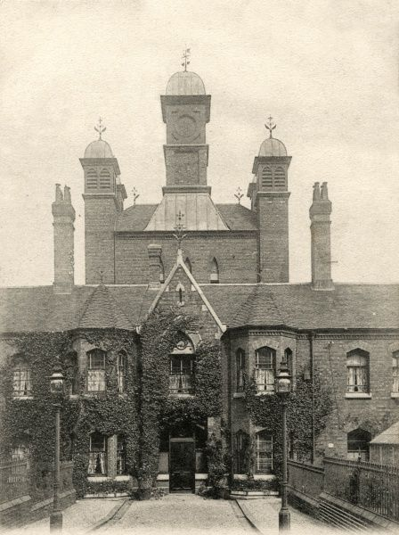 Entrance to the Union workhouse on what is now Raddlebarn Road, King's Norton, Worcestershire, south west of Birmingham. The building, designed by Edward Holmes, was opened in 1870. The site later became part of Selly Oak Hospital