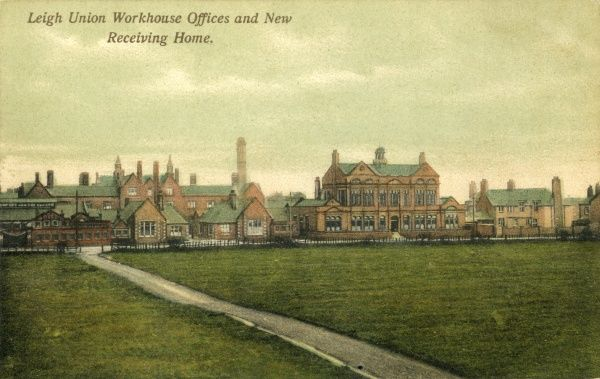 Opened in 1851, the Union workhouse on Leigh Road, Leigh, Lancashire, later became Atherleigh Hospital. This early 1900s view focuses on the recently added workhouse offices and receiving home