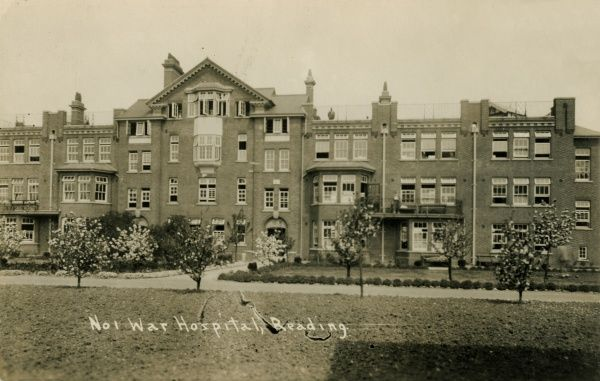 Reading Union workhouse was opened in 1867 at a site on Oxford Road in Reading, Berkshire. This view of a block for the aged and infirm dates from the First World War when the site was deployed as a military hospital