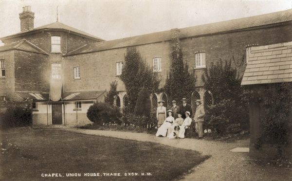 A view of the Thame Union workhouse from one of its internal yards with the workhouse chapel in the background