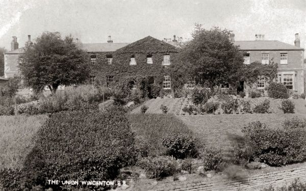 The Wincanton Union workhouse, Somerset, with extensive vegetable gardens in front which were cultivated by the workhouse inmates