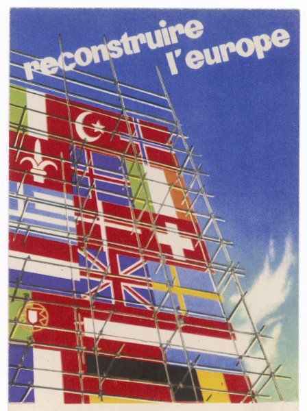 The flags of European nations are the building blocks from which the new Europe will be rebuilt, following World War Two