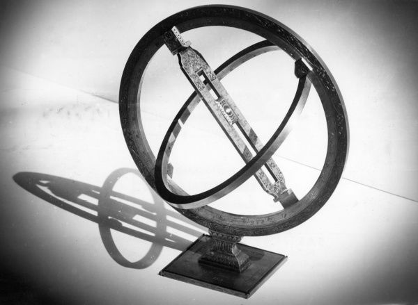 A Universal Ring Sundial, a French sundial which indicates the time by light passing through the pin hole onto a graduated ring parallel to the earth's equator. Date: 18th century