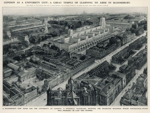 A panorama of the Bloomsbury area of London showing how Senate House, designed by Charles Holden, will fit in with the other University of London buildings