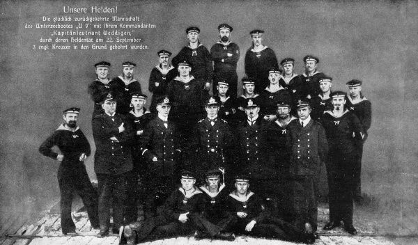 A commemorative photograph of the crew of the 'U9', a German submarine claiming to have sunk three British cruisers in 1914. With the news, the men became heroes of the Fatherland