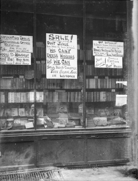 SALE! Don't judge our shop by its windows, we can't dress windows, but we can sell books cheaper than anyone else in London!
