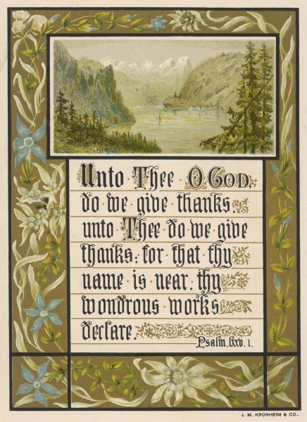 'Unto thee O God...' - text accompanied by a view of mountain scenery and tasteful floral ornament
