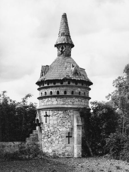 An unusual stone dovecote in Bemerton, Wiltshire
