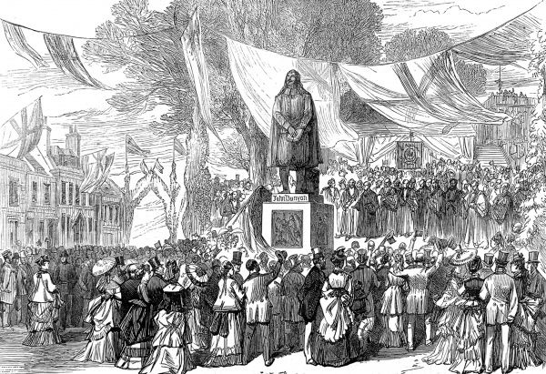 Engraving showing the unveiling of the John Bunyan statue in Bedford, June 1874. Bunyan (1628-1688), the English writer and preacher, was a pastor in Bedford for 16 years and spent 12 years in Bedford County Gaol