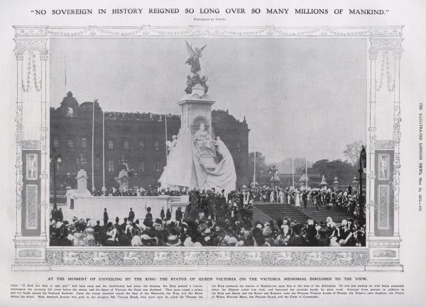 The moment of the unveiling of the Queen Victoria Memorial monument outside Buckingham Palace on 16 May 1911. The monument was sculpted by Sir Thomas Brock and its unveiling took place in front of numerous members of the royal family