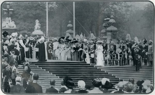 Unveiling of the Queen Victoria Memorial Monument at the end of the Mall in front of Buckingham Palace in May 1911. Sculpted by Sir Thomas Brock with an architectural surround by Sir Aston Webb, the unveiling ceremony was attended by Kaiser Wilhelm II