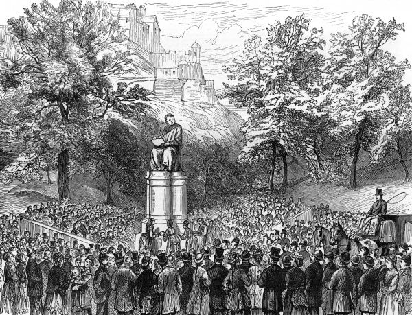 The bronze statue of the eminent surgeon, Sir James Simpson, is unveiled in Edinburgh by Lady Galloway. Date: 1877