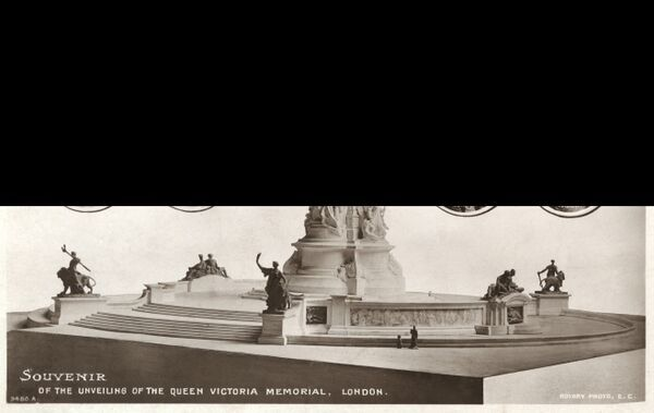 Unveiling of the Victoria Memorial, London - featuring the Royal family members witnessing the event, from the UK and Germany, King George V and Queen Mary and Kaiser Wilhelm II and German Empress Augusta Viktoria of Schleswig-Holstein (Queen