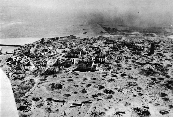 Aerial photograph showing the upper town of Heligoland, the former German military base, pictured in 1947