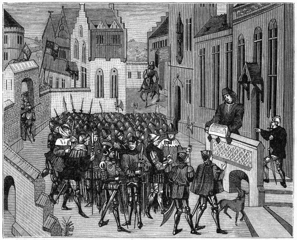 The 'White Hood' rebellion in Ghent : peace proclaimed at Ghent by Jan van Helle in the name of the duc de Bourgogne