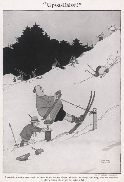 A sensible provision now made on some of the nursery slopes, whereby the plump skier may, with the minimum of effort, regain his or her feet after a fall