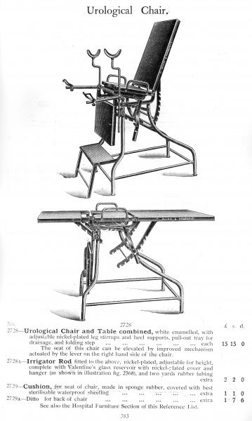Urological Chair and Table combined, with pull-out tray for drainage. [This catalogue contains 2000 pages of medical equipment] Date: 1930