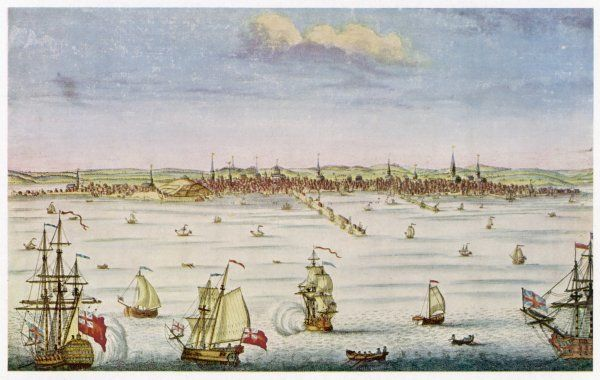 General view of Boston and its busy harbour