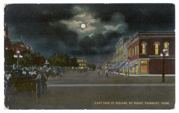 Fairbury, Nebraska: the Square at night, with a full moon