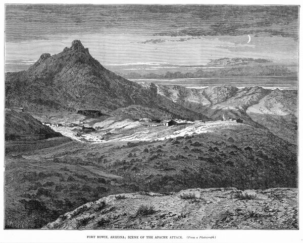 Distant view of Fort Bowie, Arizona, in the heart of Apache country and scene of fighting with Native Americans
