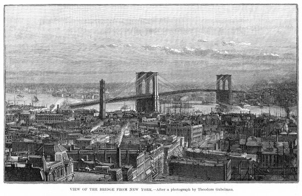 General view of the bridge which links Manhattan with Brooklyn