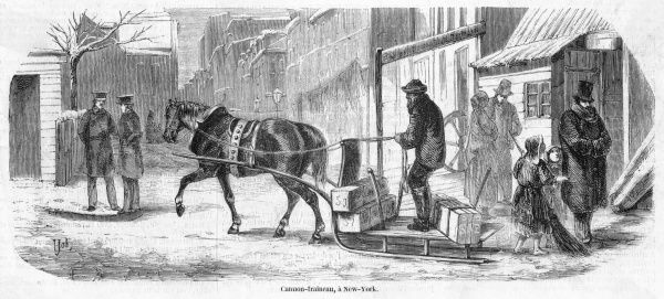 Barefoot children beg in the street as a horse-drawn sled carries goods through the snow