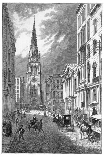 The street, with Trinity Church facing us