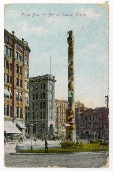Totem pole of the Raven Tribe of the Tlingit Indians (Alaska), purchased and re-erected in Seattle, Washington State