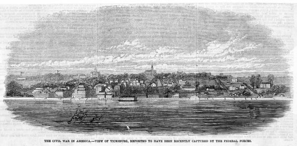 Vicksburg, Mississippi, viewed from the river during the Civil War period