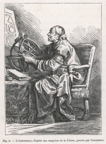 An astronomer using an ARMILLARY SPHERE whose rings show the equator, tropics, polar circles and so forth