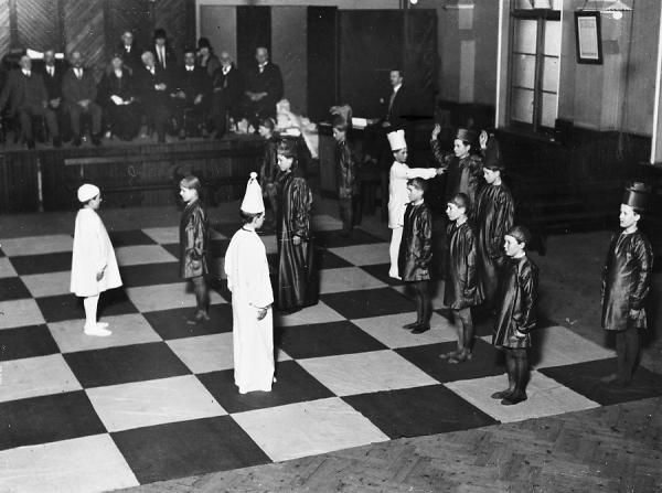 Thirty-two pupils from Ramsgate schools act as living chessmen in two matches that form part of Kent Chess Association's Easter Congress