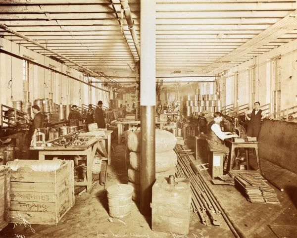 American Vacuum Cleaning Co., Newark, New Jersey, America. Vacuum cleaner factory with workers and supervisors visible