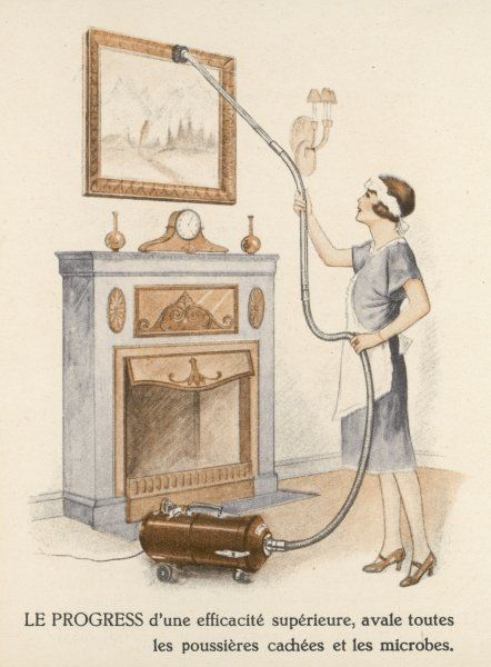 A French maidservant vacuums a picture with 'LE PROGRESS&#39