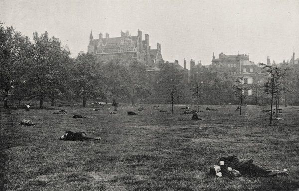 During their daytime opening hours, London's parks provided a pleasant place for the city's tramps and vagrants to sleep