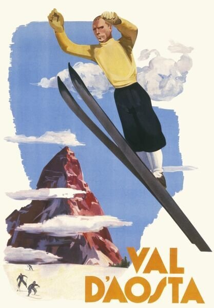 Poster for the Val D'Aosta ski resort in the Piedmont area of Italy, showing a fearless skiier jumping through the air
