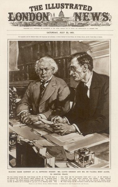 Irish leader De Valera and British premier Lloyd George meet at Downing Street, London, leading to the treaty of London which brought peace for a few months